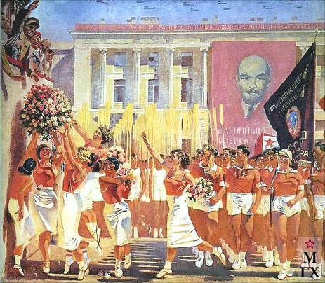 А. Н. Самохвалов. С. М. Киров принимает парад физкультурников. 1935.