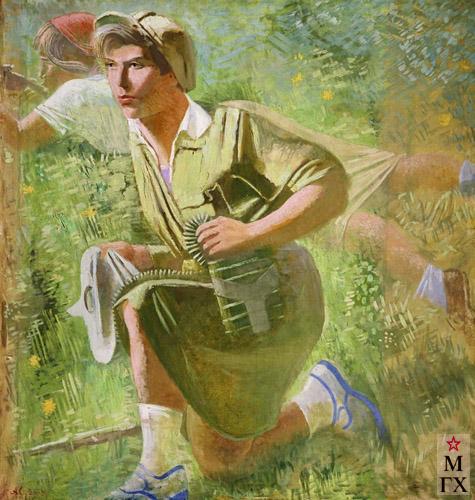 А. Н. Самохвалов. Осоавиахимовка. 1932. Х.М. 120x116. Государственный Русский музей