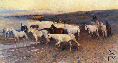 Н. С. Самокиш. Табун орловских рысистых маток. 1890.