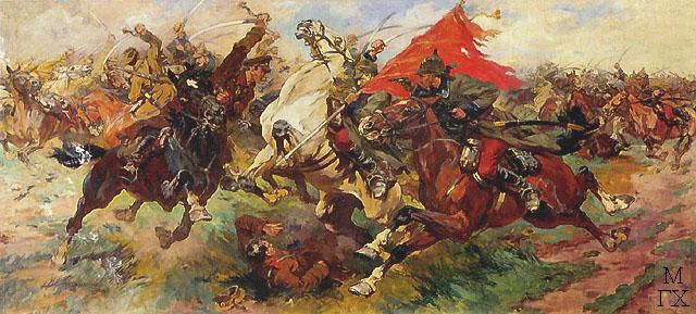 Н. С. Самокиш. Бой за знамя. Атака. 1922.