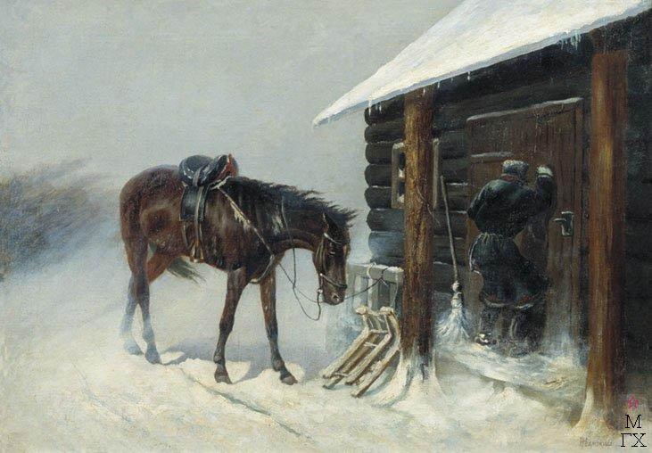 Н. С. Самокиш. На постой. Конец 19 века. Х.М.