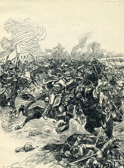 Н. С. Самокиш. Война 1812 г. Бой русской кавалерии с французскими войсками. 1912.