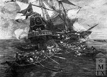 Н. С. Самокиш. Морское сражение запорожцев с турецким военным кораблем. 1932.