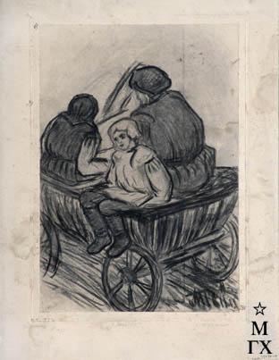 П.М. Шухмин. картина : С базара. 1934. б.уголь. 34х23.5