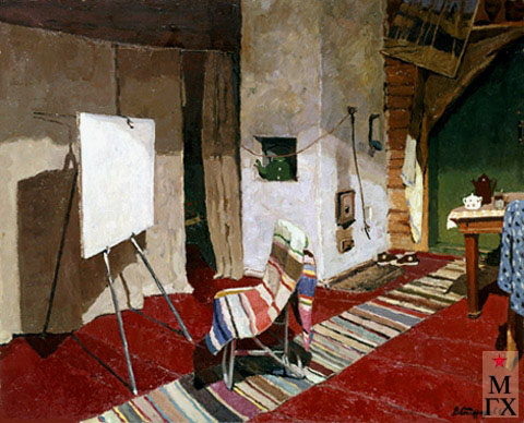 В. Ф. Стожаров. В мастерской. 1967. Х.М. Япония, Токио, Галерея Гэккосо.
