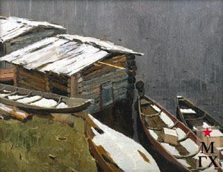 В. Ф. Стожаров. Село Большая Пысса. Большая вода.  1964. К.М.