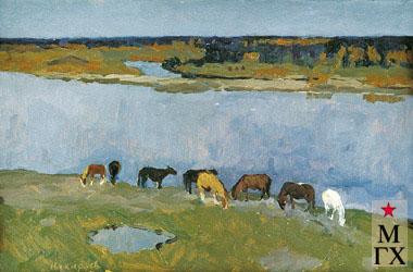 В. Ф. Стожаров. Лошади на берегу Унжи. 1971. К.М.