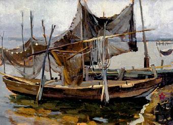 В. Ф. Стожаров. Лодки и сети. 1961. К.М.
