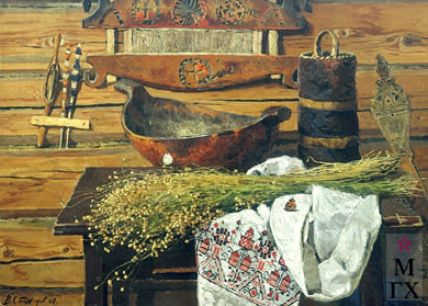 В. Ф. Стожаров. Натюрморт Лён  (1628). 1967. Х.М.