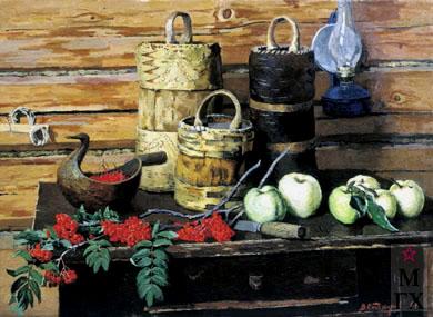 В. Ф. Стожаров. Натюрморт с рябиной . 1967. Х.М.