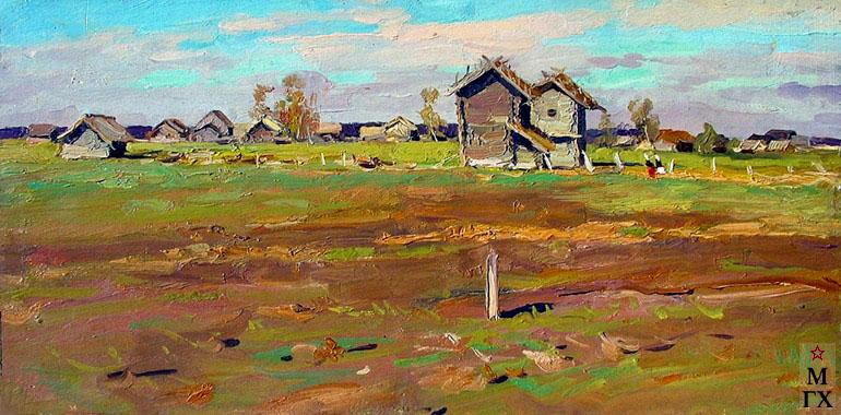 В. Ф. Стожаров. Деревня Шигино. Овины. 1956. К.М.