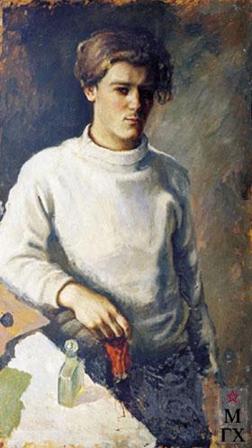 В. Ф. Стожаров. Автопортрет в белом свитере. 1944. Ф.М.