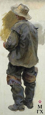 В. Ф. Стожаров.  Фигура рыбака. 1950. Х.н.К.М.