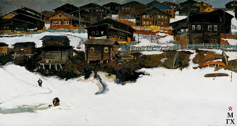В. Ф. Стожаров. Село Большая Пысса. Весенний снег. 1964. К.М.
