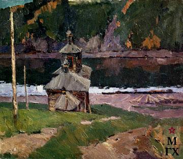 В. Ф. Стожаров. Енисей. Сумерки. 1953. Х.М.