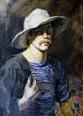 В. Ф. Стожаров. Автопортрет в белой шляпе. 1949. Х.М.
