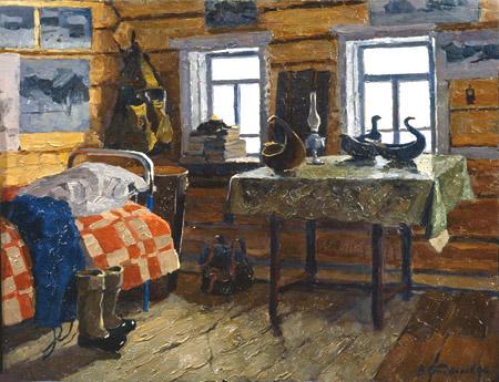 В. Ф. Стожаров. Село Муфтюга. Наша комната. 1966. К.М.