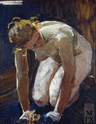 В. Ф. Стожаров. Баня. Стирающая женщина. Этюд. 1960. К.М.