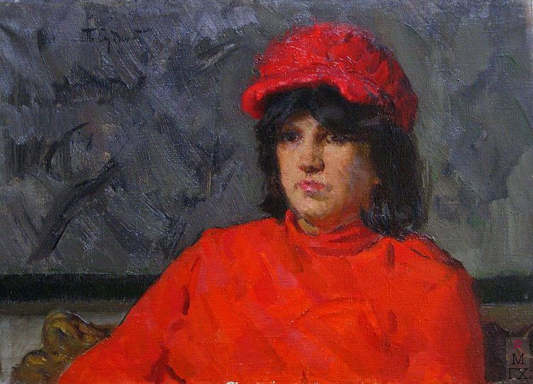 П.Ф. Судаков. Девушка в красном. 49,5х70. х.,м. 1978.
