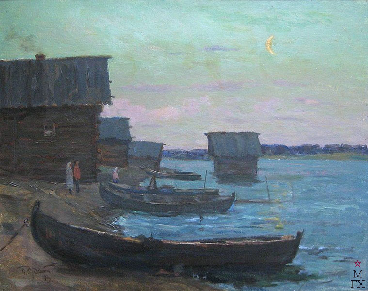П.Ф. Судаков. Вечер на реке Сума. 1993. К.М. 80х100