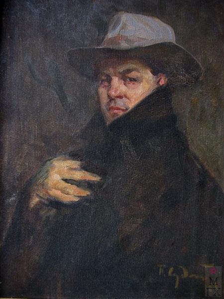 П.Ф. Судаков. Автопортрет в шляпе. 60,6х47,2. х.,м. 1963.
