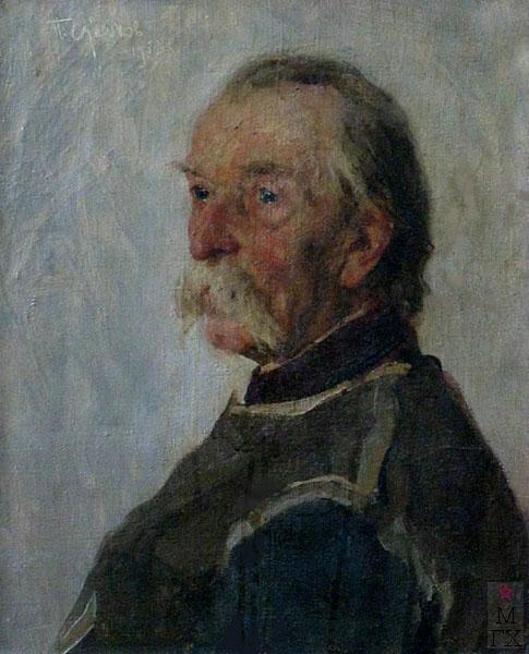 П.Ф. Судаков. Гуцул. 37х30,7. х.,м. 1953.