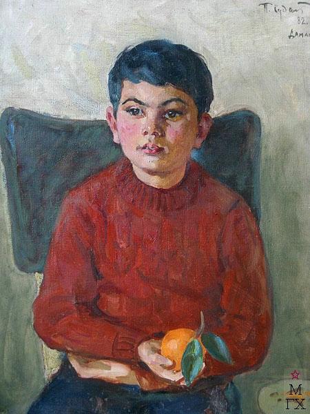 П.Ф. Судаков. Мальчик с апельсином (Дамаск). 65х49,5. х.,м. 1982.