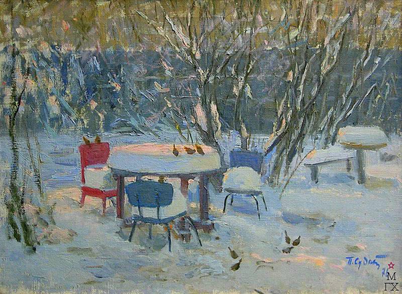 П.Ф. Судаков. Зима - воробушки в моём саду. 58х78,5. х.,м. 1976.