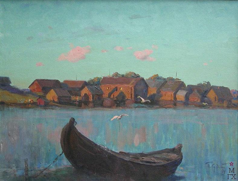 П.Ф. Судаков. Карелия - вечер (лодка). 70х90. х.,м. 1994.