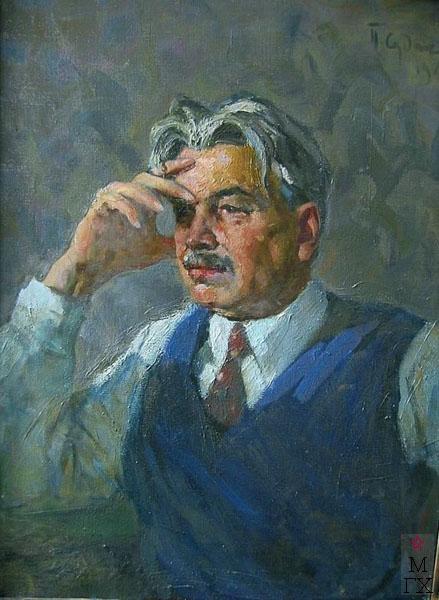 П.Ф. Судаков. Портрет писателя Л. Леонова 80,5х59,5 х.,м. 1963.