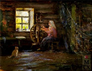 П.Ф. Судаков. Русская пряха. 1981. Х.М. 50x40