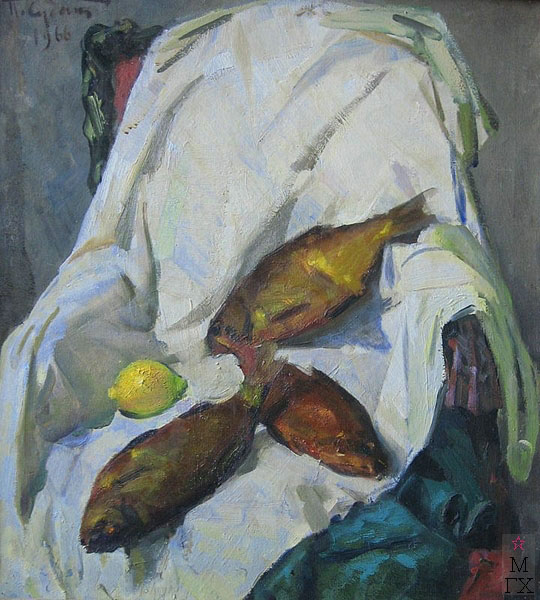 П.Ф. Судаков. Натюрморт копчёные лещи. 75х67 х.,м. 1956.