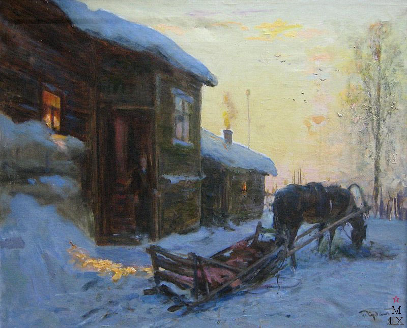 П.Ф. Судаков. Русская зима. 89,5х110. х.,м. 1992.