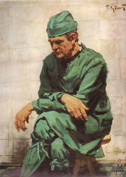 П.Ф. Судаков. Портрет хирурга А. Беляева.  100х80 х.,м 1975.
