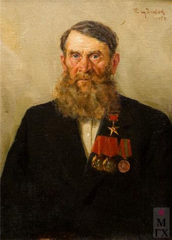 П.Ф. Судаков. Портрет Нестерова И.И. 1953. Х.М. 44x59