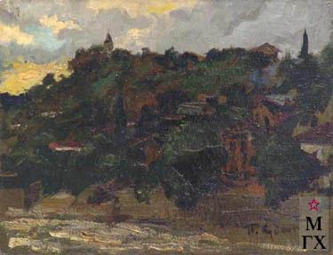 П.Ф. Судаков. Тбилиси. Вечер. 1944. К.М. 23х29,5
