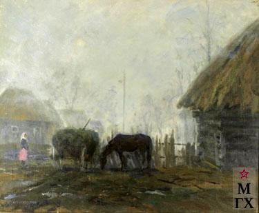 П.Ф. Судаков. Туманное утро. Смоленщина. 1991. Х.М. 100х120