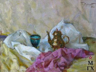П.Ф. Судаков. Натюрморт с зелёным бокалом. 2001. Х.М. 47х62