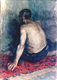 Д.К. Тегин. Натурщик, сидящий на ковре
