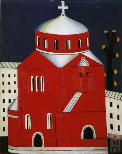 Н.Е. Ватагин. Красная церковь. 1992. Х.М. 90х80.