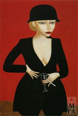 Н.Е. Ватагин. Маша в шляпе. 2001. Х.М. 100х75.