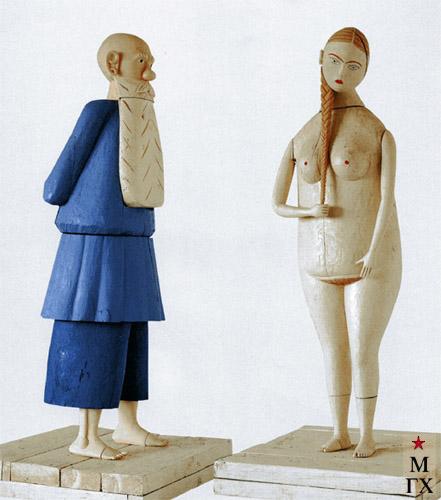 Н.Е. Ватагин. Лев Толстой и поселянка. 1998. Дерево, тон. 120 см.