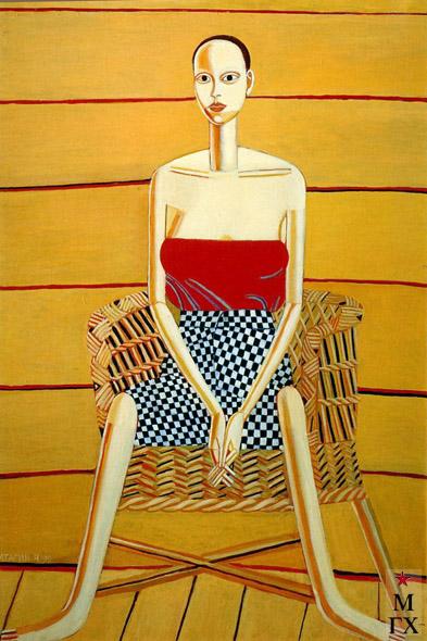 Н.Е. Ватагин. Настя на стуле. 1990. Х.М. 110х80.