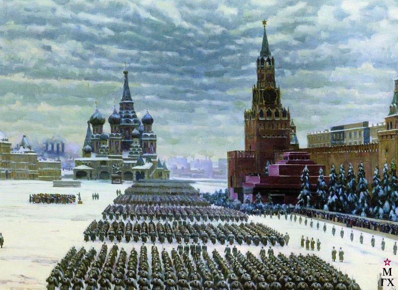 К. Ф. Юон, Парад на Красной площади 7 ноября 1941 года. 1949. Холст, масло. 84x116 Государственная Третьяковская галерея