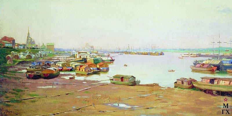 К. Ф. Юон, Речная пристань. Холст, масло. Государственный Русский музей